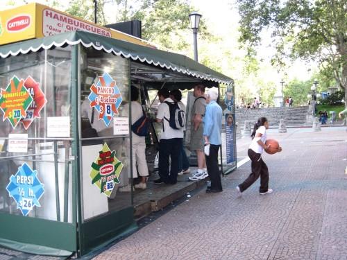 Mmmmm street food. Hamburgers for 20 Uruguayan pesos ($1 USD) or loaded hot dogs for 8 pesos ($0.40 USD).