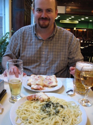 A typical lunch in one of the many cafes in Montevideo.  Pizza and pasta with pesto.  And a couple of beers and a glass of wine.  Under $20 for a nice meal.