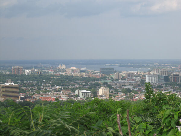 The view looking north from the Mont Royal overlook in the center of town.