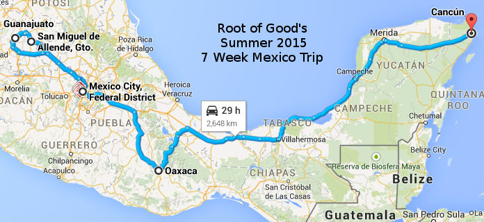 mexico summer 2015 route map