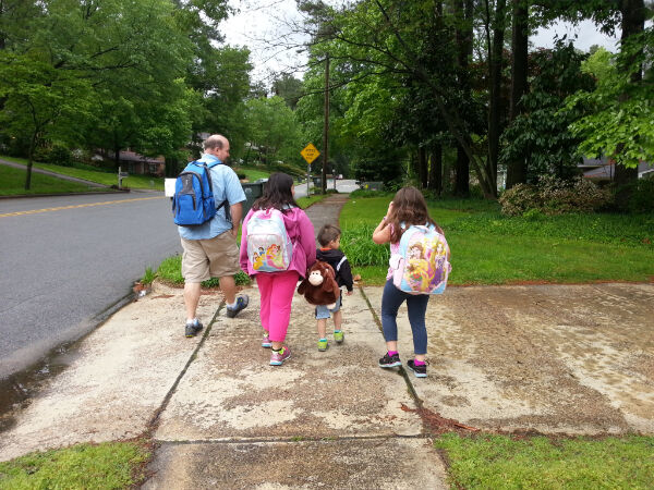 Training for the Mexico trip: backpacking the 1.8 miles to Grandma's house.