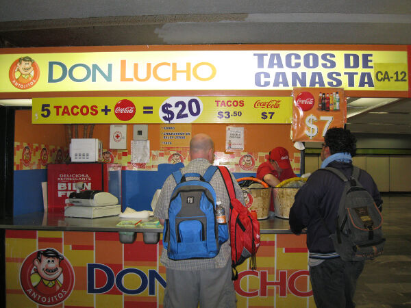 20 pesos ($1.33 USD) for 5 tacos and a bottle of Coke in the metro station.
