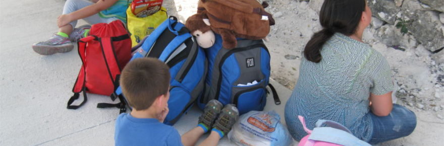 backpacks-on-street-in-tulum