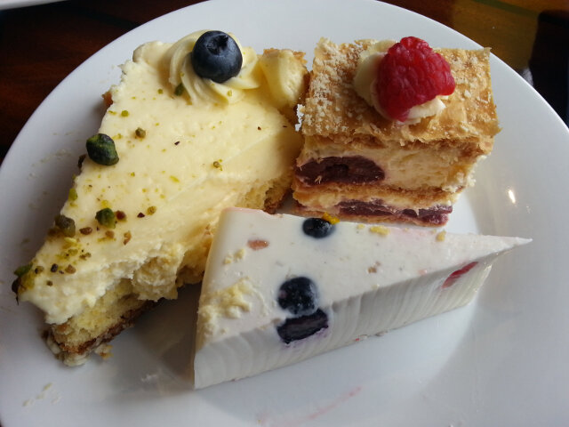 Blueberry cheesecake (left)