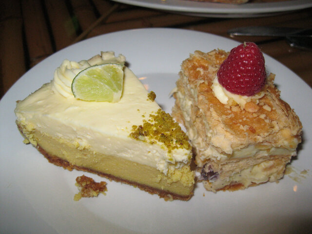Key lime cheesecake (left), Napoleon almond cake (right) - Mrs. Root of Good's favorite