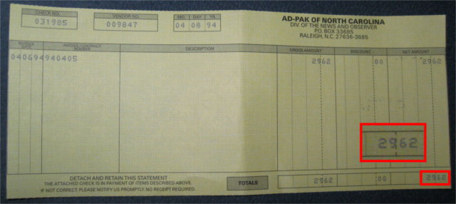 My first paycheck. $29.62 for a month of delivering the weekly newspaper when I was 13.