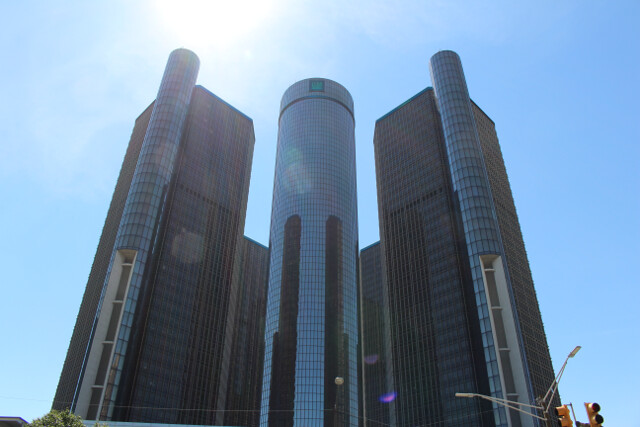 The Renaissance Center. The only place we saw a bunch of other people in Detroit.