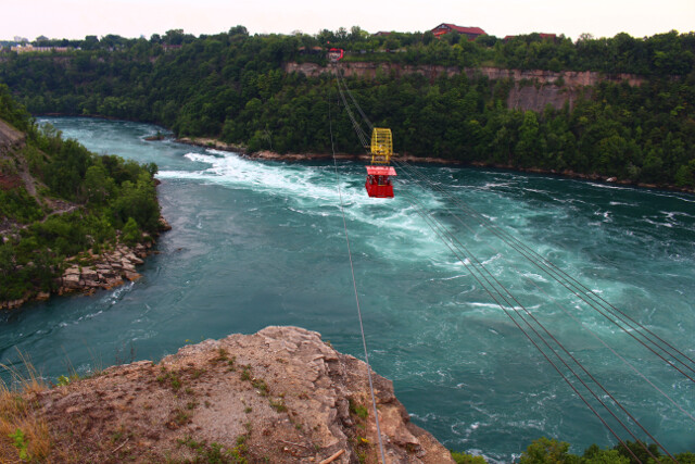 The Niagara River forms a massive Whirlpool a few miles downstream from the falls. Circling the Whirlpool are a number of (free) overlooks.