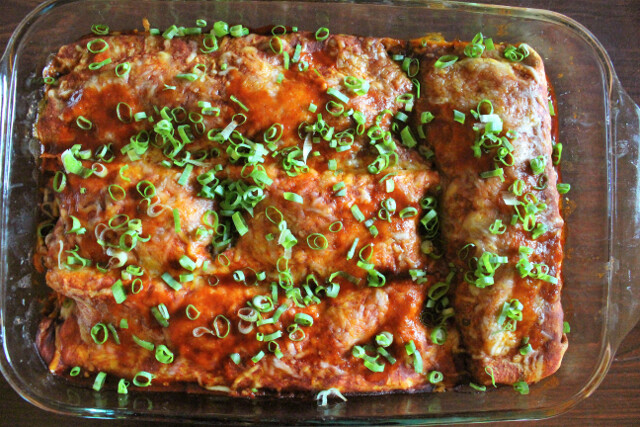 Enchiladas hot from the oven.