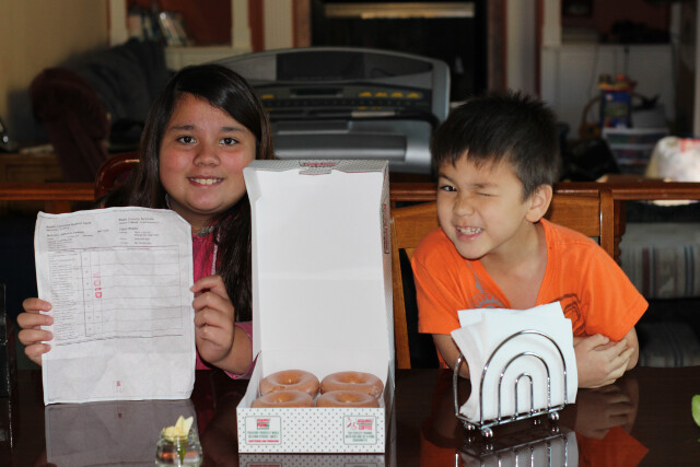Not a restaurant purchase exactly because it cost $0. Half a dozen free Krispy Kreme donuts for getting A's on her report card.