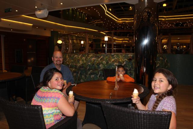 Pool-side ice cream for dessert.