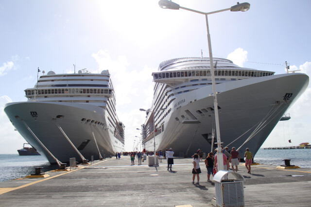 Our ship, the MSC Divina, sits to the right while docked in St. Maarten.