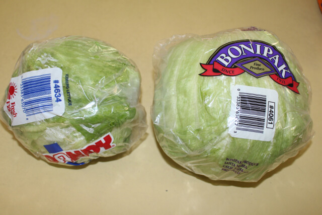 The one on the left is Instacart's choice of lettuce. The one on the right is what I usually buy. Mine is twice as heavy as the Instacart lettuce (and 5 cents cheaper).