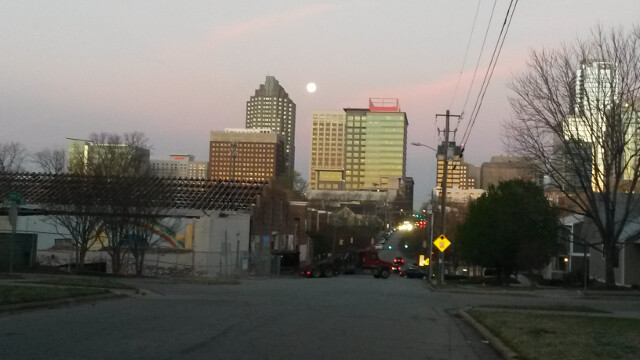 The upside to morning carpool drop off duty: beautiful sunrise/moonsets over downtown