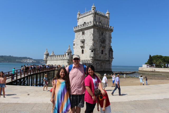 We took a bus and a tram across the city to see the Tower of Belem. This tower guarded the entrance to the Tagus River, and provided protection for the city and all inland areas of Portugal from ships sailing the Atlantic Ocean.