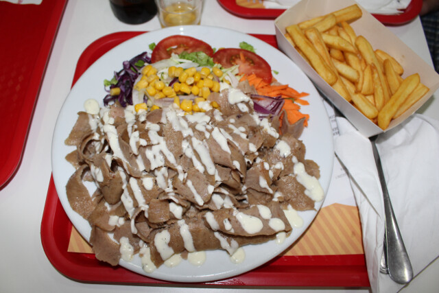 Doner kebab prato (or plate) - a double heaping serving of doner kebab meat, veggie salad, and large french fries on the side for USD$6. It came with a soda which we switched for a beer (beer was cheaper than soda so technically it was a downgrade :) )