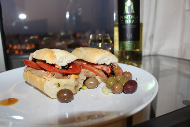 Encore appearance of the doner kebab plate - kebab sandwiches on baguettes with tomatoes and olives from the grocery store! Yummy creative way to consume leftovers from huge portions at the restaurant.