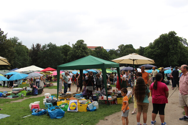 Preussen Park in Berlin. Every weekend this place turns into a Thai street food market. Entrees for €5 and small dishes €1 (about USD$6 and $1.20 respectively).
